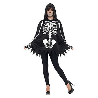 Aikuiset Skeleton Poncho & Käsineet Fancy Dress Kit