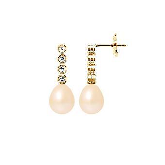 Ohrringe von hängenden Ohren Rose Kultur Perlen, Diamanten 0,24 cts und Gelbgold 750/1000