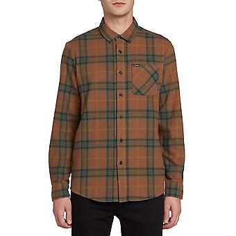 Volcom Caden Plaid Langarm Shirt im Schlamm