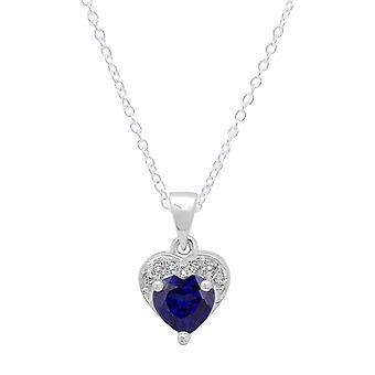 Dazzlingrock collectie 14K 5 MM hart blauwe saffier & ronde diamant hart hanger (zilveren ketting inbegrepen), witgoud