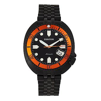 Heritor Automatic Morrison Special Edition Bracelet Watch w/Date - Black/Orange/Black