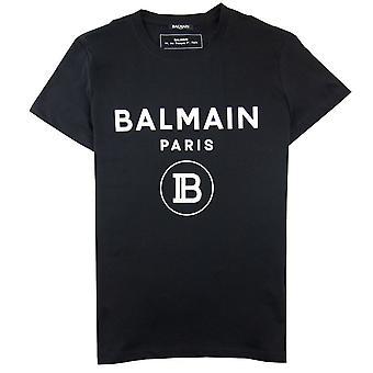 Balmain Drukowane Biały Aksamit logo T-Shirt Czarny