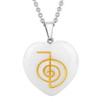 Amulette Choku Rei Reiki magie pouvoir protéger énergie Snowflake Quartz Puffy cœur pendentif