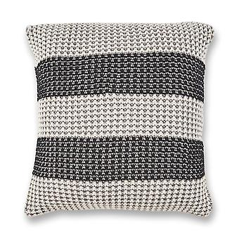 Casual Square Gray and Black Stripe Accent Pillow