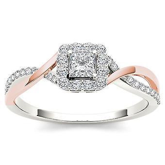 IGI certifié 10 K or Rose 1/2 Ct TDW diamant classique s'entrecroisent bague de fiançailles (I-J, I2)
