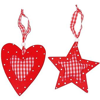 Estrela e coração de madeira
