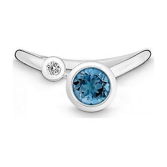 QUINN - Ring - Silver - Diamond - Blue Topas - Wess. (H) - Width 56 - 213936582