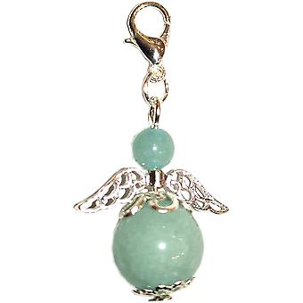 Handmade Clip-on Semi-precious Aquamarine Guardian Angel in Silver Plated by Nyleve Designs