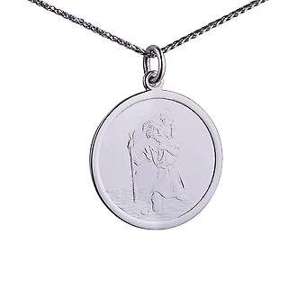9ct White Gold 25mm round St Christopher Pendant with a 1.1mm wide spiga Chain 24 inches