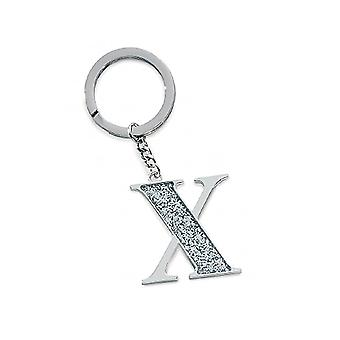 Silver Options Silver Plated Letter X Glitter Keyring