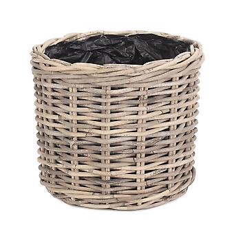 Large Rattan Round Planter with Plastic Lining