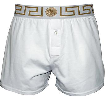 Versace Iconic Button-Front Boxer Short, Blanc/Or