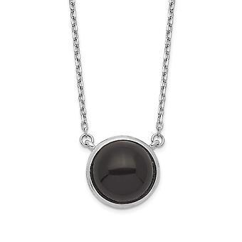 925 plata esterlina Rhodium plateado ronda simulada onyx cabujón collar de 17,5 pulgadas regalos de joyería para las mujeres
