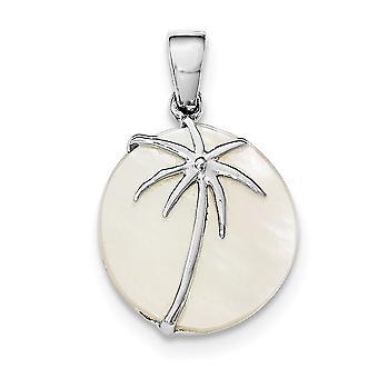 925 Sterling Argento polacco lucidato simulato Madre di Perla Palma Round pendant collana gioielli per le donne