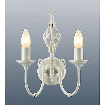 THLC Traditional Barley Knot Twist 2 Light Sconce Wall Light Lamp, Lighting Cream
