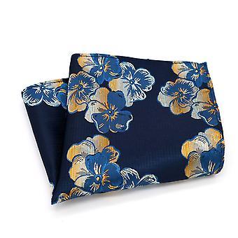 Blue & orange men's floral wedding look pocket square
