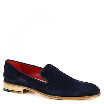 Leonardo Shoes Men's handmade classy loafers shoes in blue suede leather