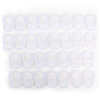 30 Clear Transparent Silicone Ring Pacifier Adapter For Pacifiers Without Ring - Dummy Chains