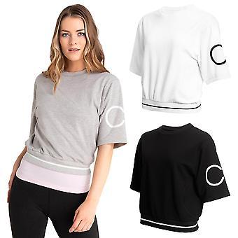 Calvin Klein Damen 2020 Chill abgeschnitten übergroße breite Kurzarm-Top