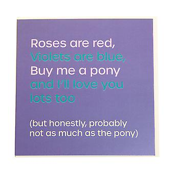 Gubblecote Rose Sont Red Buy Me A Pony Greetings Card