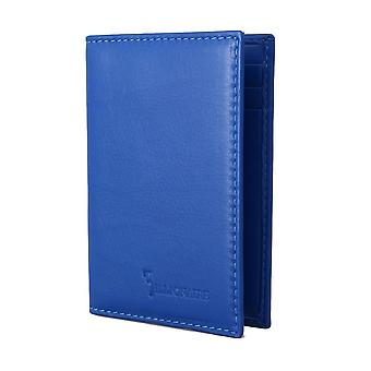 Blue leather bifold wallet a63