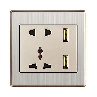 I LumoS Stainless Steel Multi Plug Socket & USB Phone Charger Single Wall Socket