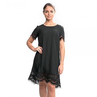 Fransk anslutning Classic Crepe ljus vävt Ss tunika Womens Dress