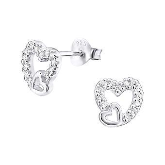 Heart - 925 Sterling Silver Cubic Zirconia Ear Studs - W12163x