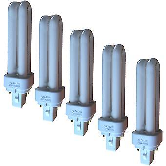 Energibesparande PLC-glödlampa - 13w 4 stift CFL-glödlampa - G24q-1 - färg 4000k - 5 PACK