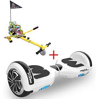 MM6 Hoverboard Self Balanced Electric Scooter LED med kart-hvid