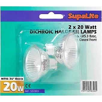 SupaLite MR16 20W Dichroic Halogen Reflector Lamps (Pack Of 2)