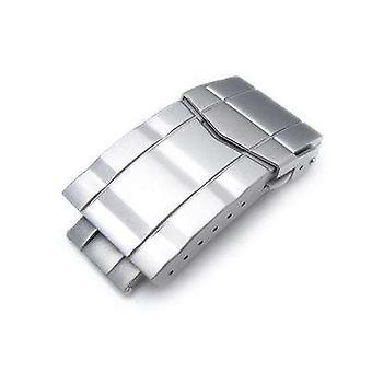 Strapcode ur lås 18mm, 20mm solid 316l rustfritt stål dobbel låser submariner dykker lås, knapp kontroll, sandblåst