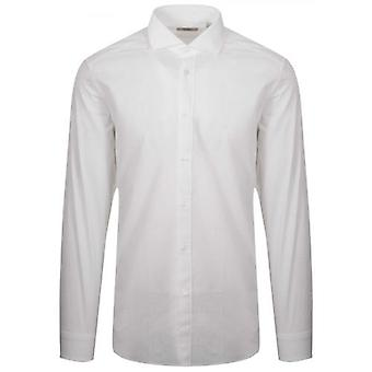 CC Collection Corneliani White Textured Long Sleeve Shirt