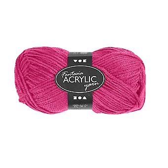 50g 3-Ply Neon Pink Acrylic Yarn for Kids Knitting and Sewing Crafts