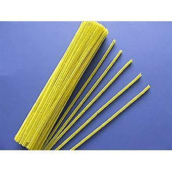 100 nettoyeurs à tuyaux jaunes de 6 mm | Tiges de Chenille
