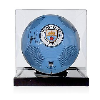 David Silva Signed Manchester City Football. In Display Case