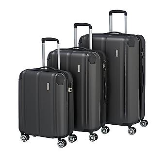 travelite City coffret 3 pièces L/M/S 4 rouleaux extensible S-M-L, Gris