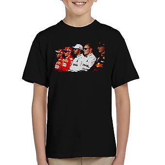 Motorsport images Vettel Raikkonen Hamilton Botta & Verstappen line up ABI Dhabi GP Kid ' s T-shirt