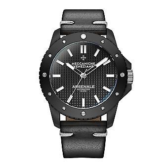Meccaniche Veneziane 1303009 Arsenale Automatic Black Leather Wristwatch