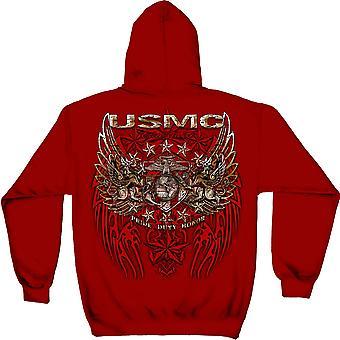 USMC Marines Pride Duty Honor Red Hoodie