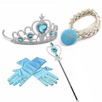 4pc Girls Frozen Elsa Princess Hairpiece Crown Wand & Gloves Costume Accessories