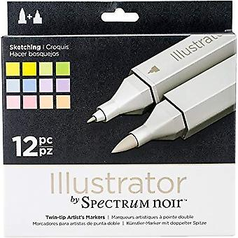 Spectrum Noir Spectrum Noir Illustrator Skizzieren (12pc) (SPECN-IL12-SKE)