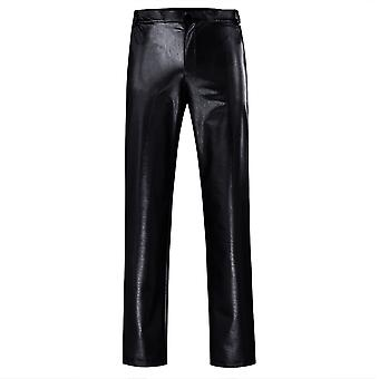 Mens Casual Night Club Metallic Moto Style Flat Front Faux Leather Pants