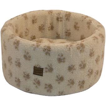Danish Design Paw Print Cream Cat Cosy Bed - Medium (50cm)