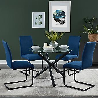 Madeline/Nathaniel 5Pc Dining Set - Black Table/Light Grey Chair