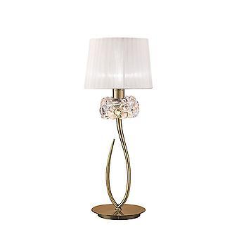 Lampa stołowa 1 Light E27 Duży, Antyczny mosiądz z białym odcieniem