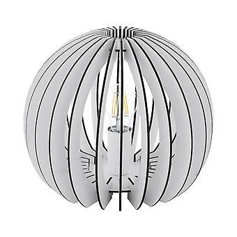 1 Lampe de table légère blanche avec ombre en bois, E27