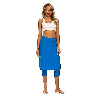 Bonverano Mulheres Mid Rise Tornozelo Apertado Saia A-Line com leggings anexadas