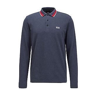 BOSS Athleisure Boss Plisy Long Sleeved Polo Navy