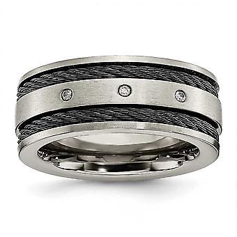 チタン起毛彫刻用の黒ケーブルとダイヤモンド 10 mm バンド リング - 指輪のサイズ: 8 に 13